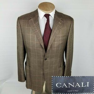 Canali Mens Sport Coat 40S Silk Blend Houndstooth